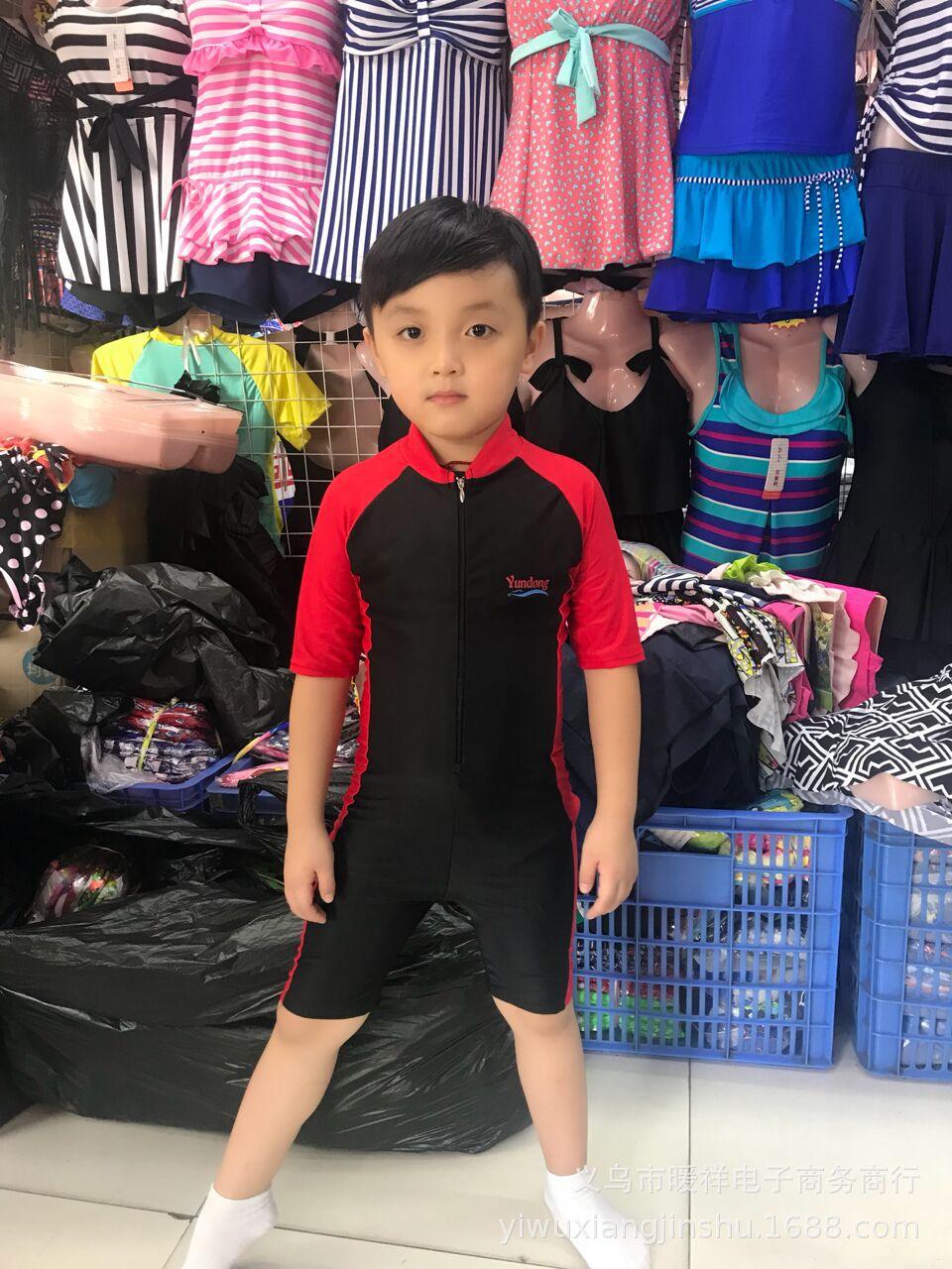 Sun-resistant Children Siamese Swimsuit Kids Short Sleeve Swimming Diving Suit Warm Snorkeling Bathing Suit