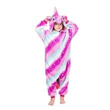 Girls Unicorn Onesie Pegasus Kigurumi Zipper Flannel Soft Sleepwear Kids Funny Cute Outfit Halloween Party Suit Animal Pajamas