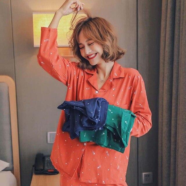 Outono Novas Senhoras Pijamas de Algodão Set Completo Turn Down Collar Estilo Coreano Sleepwear Homewear Estilo Estrela Dos Desenhos Animados Impresso Simples