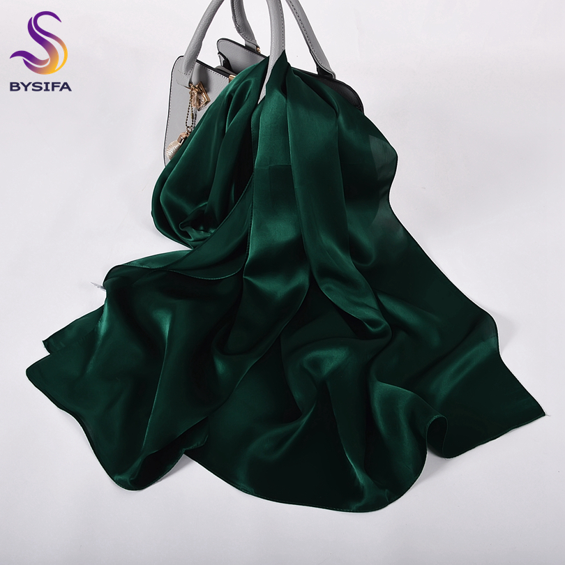 [BYSIFA] New Women Luxury 100% Silk Long Scarves Shawls 2020 Spring Silk Scarf Cape Top Grade Muslim Head Scarf Hijab Dark Green