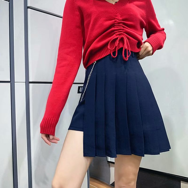 Retro Charm Pleated Skirt College Style High-waisted Long Legs Non-symmetrical Short Skirts JK Uniform Pleated Miniskirt