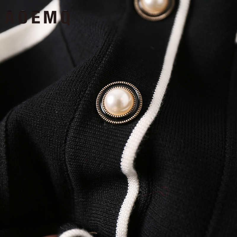 AOEMQ Mode Lange Strickjacke Mantel Herbst Garten Outwear Mäntel V-ausschnitt Kragen Breite Strickjacke Mäntel mit Großen Taschen Frauen Kleidung