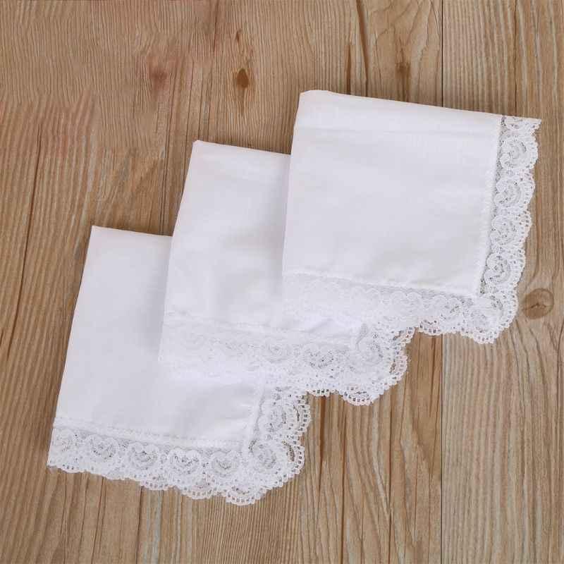 25X25 Cm Wanita Putih Polos Persegi Sapu Tangan Crochet Peach Jantung Bergigi Lace Potong Bridal Pernikahan Diy Serbet Kapas hankie