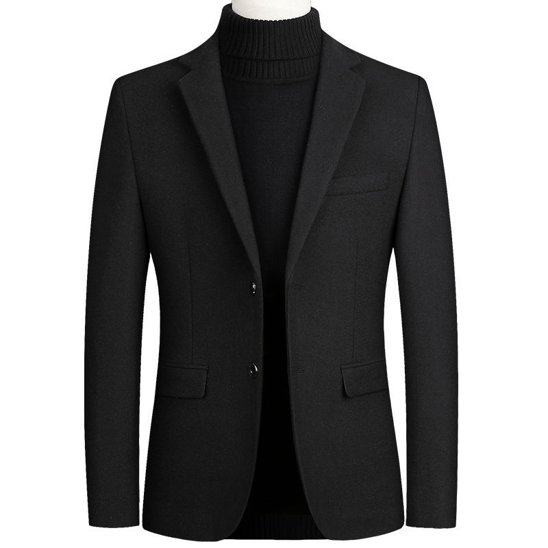 Winter Wool Coat Men Woolen Overcoat Casual Wear Black Blend Coat Male Long Sleeve Tops Classic Office Wear Plus Size Clothing