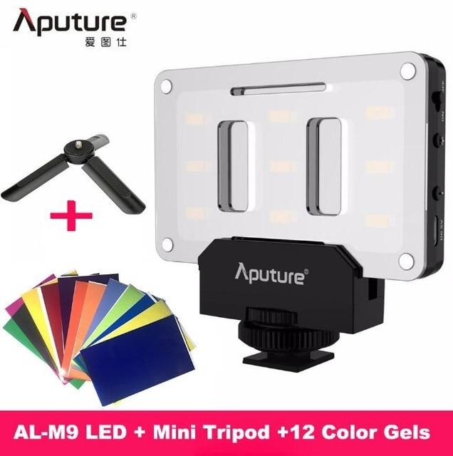 INSTOCK Aputure AL M9 جيب LED الفيديو الضوئي على الكاميرا إضاءة الاستوديو قابلة للشحن إضاءة صور CRI/TLCI 95 لفيلم الزفاف كانون