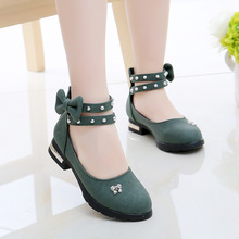 Girls Shoes For Party Ankle Strap Leather Shoes Big Girls Princess Shoes Butterfly-knot Dress Shoes Baby Kids 2-14 Years