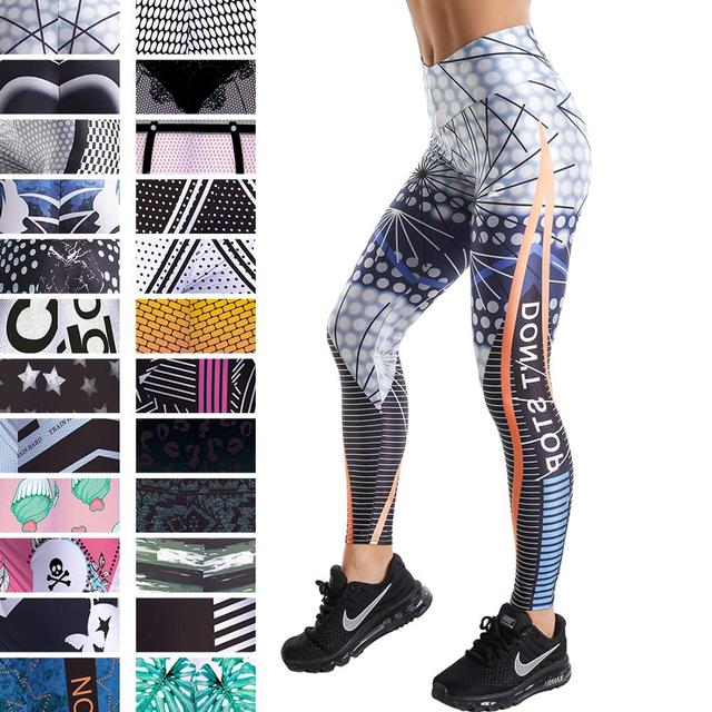 Push Up Elastic High Waist Printed Leggings Women Feather Letters Cross Waist Leggings For Weight Loss Tummy Control