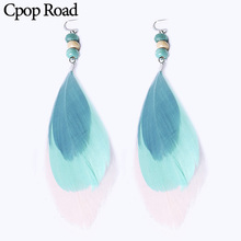 Cpop New Boho Blue Nature Feather Earrings Beads Three Layers Ethnic Statement Fashion Jewelry Women Accessories Gifts