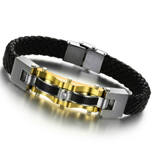 Fashion Men multilayer Link Gold Stainless Steel Byzantine Weave Chain Black Leather Bracelets Pulseras Jewelry