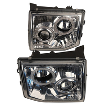 Car LED Angel Eye Lens Headlight For Pajero Headlamp V31 V32 92 93 94 95 Modified White Bac  far and near Light A Pair