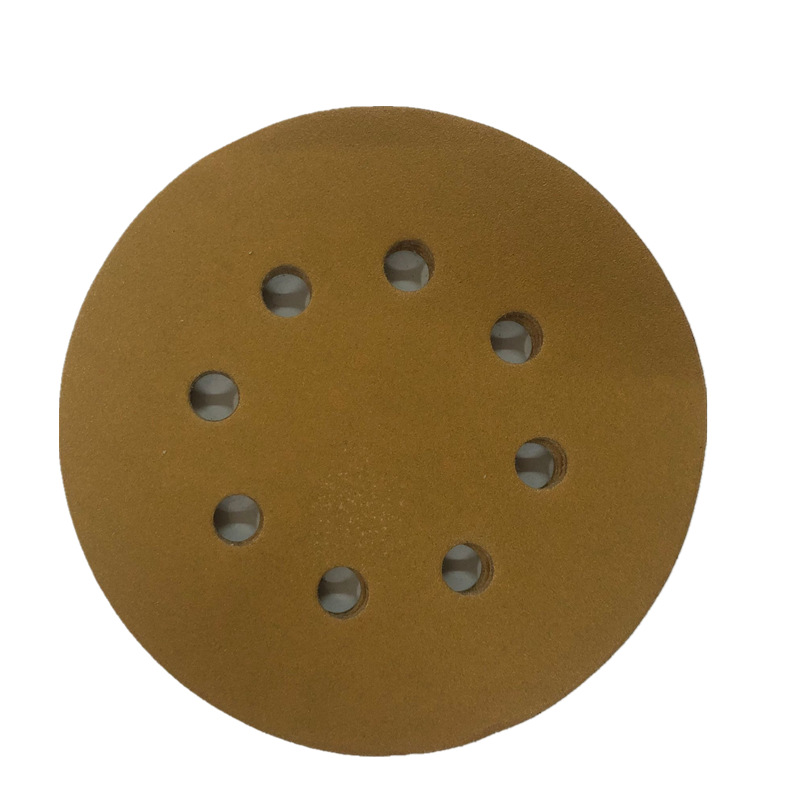 5-Inch 125mm8 Hole Flocked Sandpaper Yellow Paintcoat Napper Furniture Primer Polishing Automobile Hub Polishing Pad