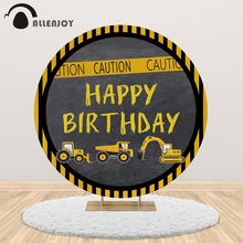 Allenjoy Birthday round backdrop Construction party Quarantine dump truck photography background studio boy curtain photophone allenjoy photography backdrop frozens wonderland forest snow queen birthday fairy tale party deco photo background photophone