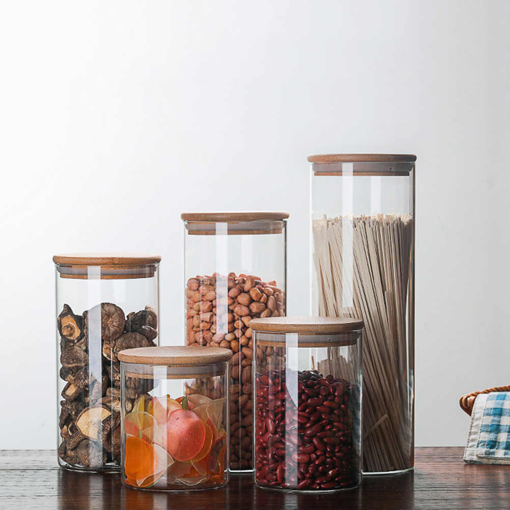 Kaca Disegel Kaleng dengan Tutup Dapur Makanan Penyimpanan Botol Mason Bumbu Toples Permen Wadah Penyimpanan Teh Kotak Penyimpanan Dapur dapat
