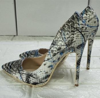 Tide High Heels Pumps Women Graffiti Shoes Women Slip on Sexy Sapato Feminino Pointed Toe Ladies Shoes Zapatos De Mujer Big Size