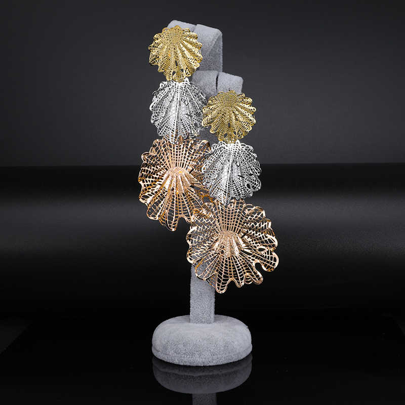 Fani אופנה מותג דובאי זהב צבעוני ארוך זרוק להתנדנד נשים עגילי מעודן חתונה מסיבת מתנה ארוך זרוק להתנדנד עגילים