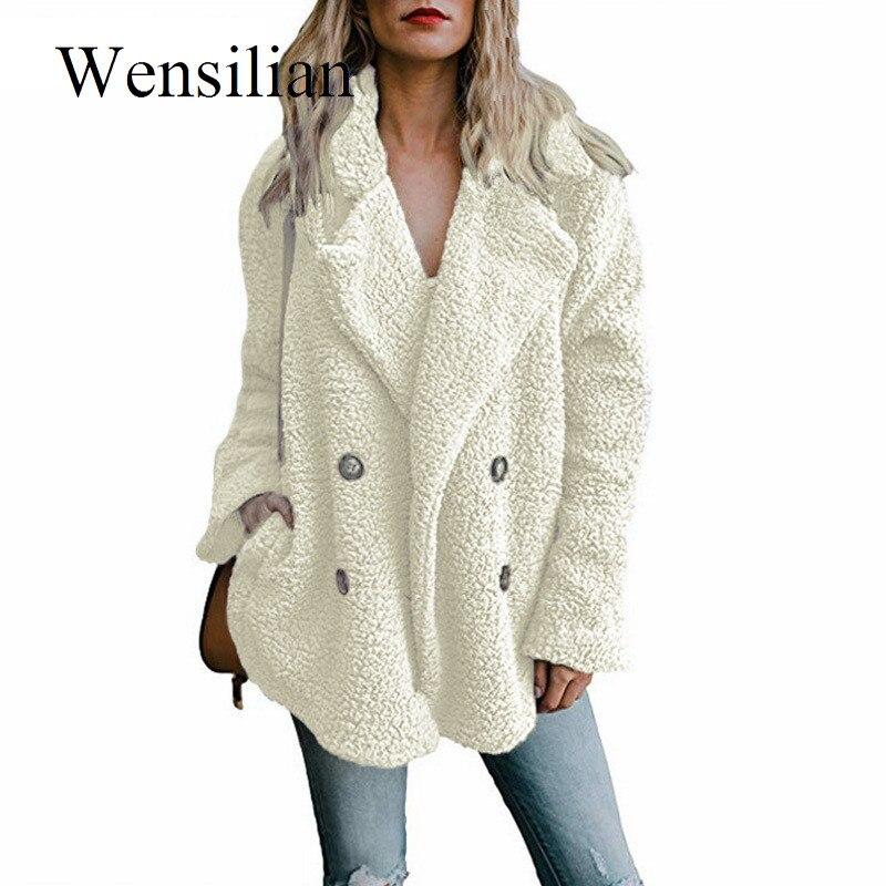 5XL Fur Coat Women Winter Jackets Lapel Long Sleeve Teddy Coat Warm Furry Hairy Jackets Female Plus Size Overcoat Chaqueta Mujer