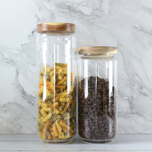 Transparent Glass sealed cans storage jar flower tea pot tank pressure acacia wood