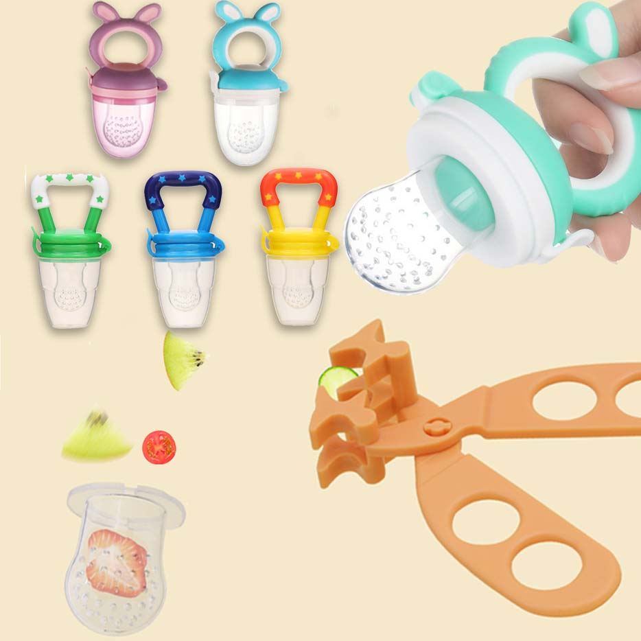 Baby Nipple Fresh Food Vegetable Mills Dispenser Kids Fruit Feeder Feeding Nipple Safe Supplies Tool Scissors Baby Food Maker