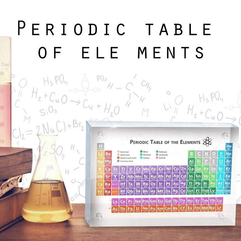Acrylic Periodic Table Of Elements Table Display, With Elements Kids Teaching Birthday Teacher's Day Gifts