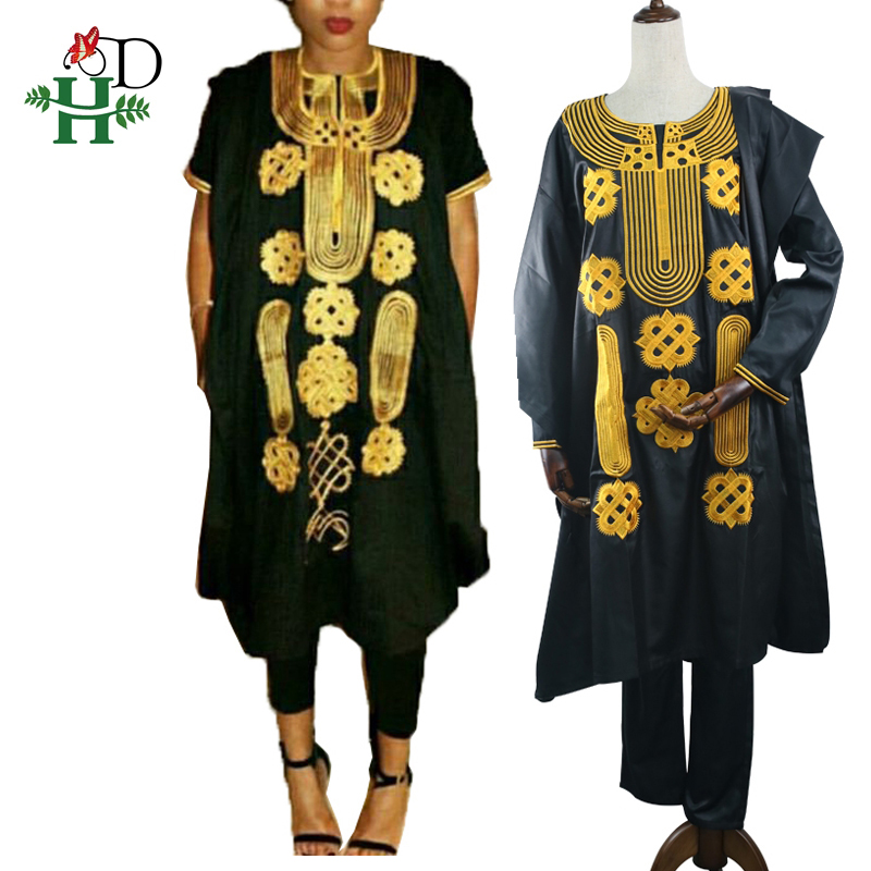 Plus Size Spring Woman Suit Black Gold African Lady Clothing Riche Bazin Women  Dashiki Suits Tops Pant Embroidery Outfit Set