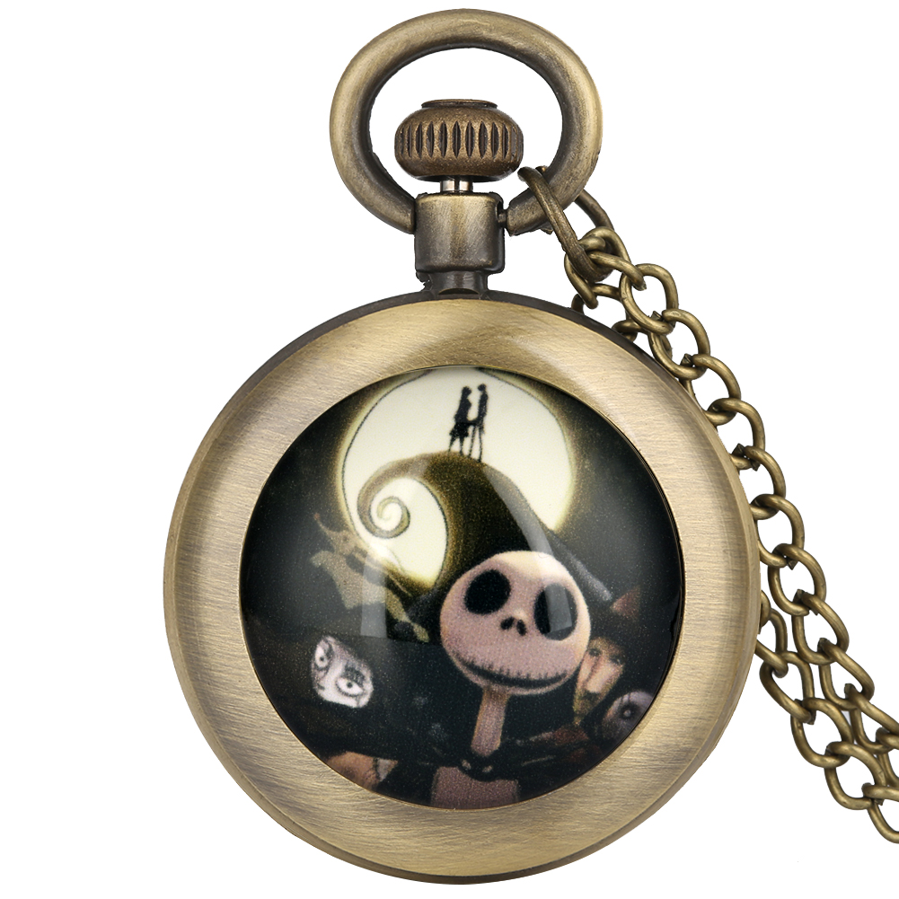 The Nightmare Before Christmas Pocket Watch For Men Women Bronze Pendant Clock Children Gift Relojes De Bolsillo Para Hombre