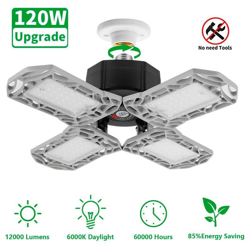 New E26 120W LED Garage Light Deformable Ceiling Light For Home Warehouse Workshop Folding Three-Leaf Deformation Lamp