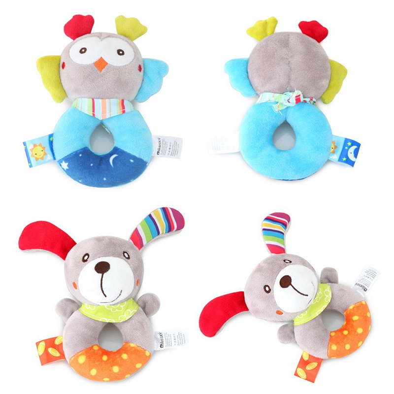 Baby Cartoon Animal Rattles Ring Educational Toys For Children Teether Toddlers Bed Bell Baby Playing Kids Stroller Hanging Doll