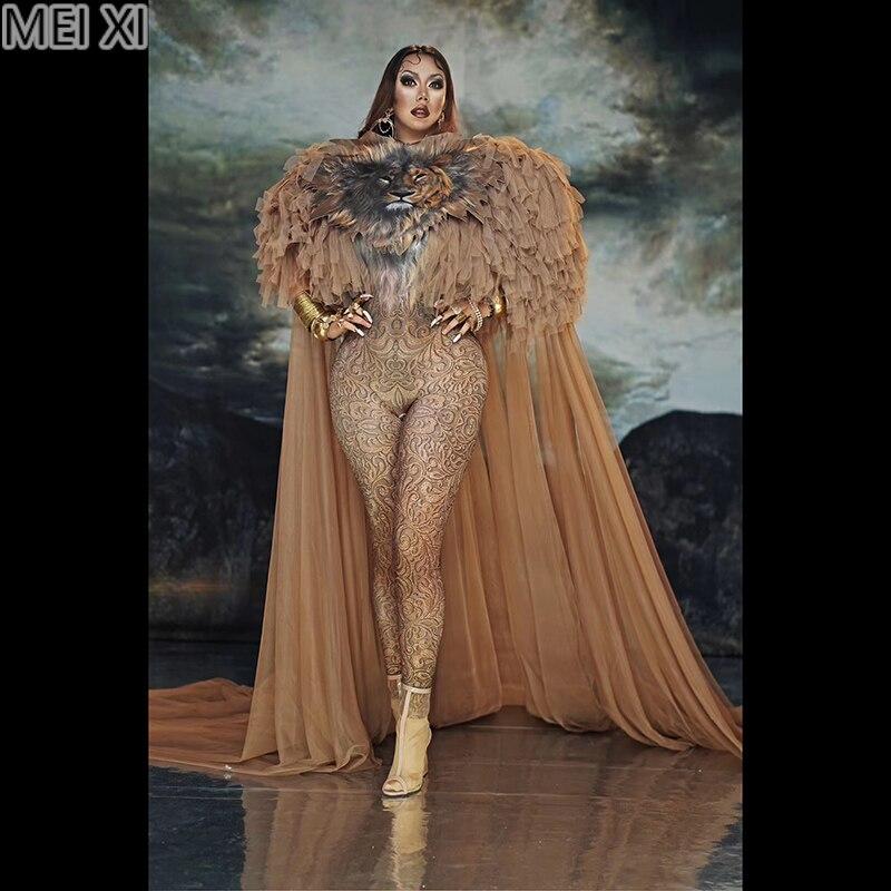 Atmospheric Queen Lion Print Gauze Cape Onesie Nightclub Bar Concert DJ Singer/dancer Costume