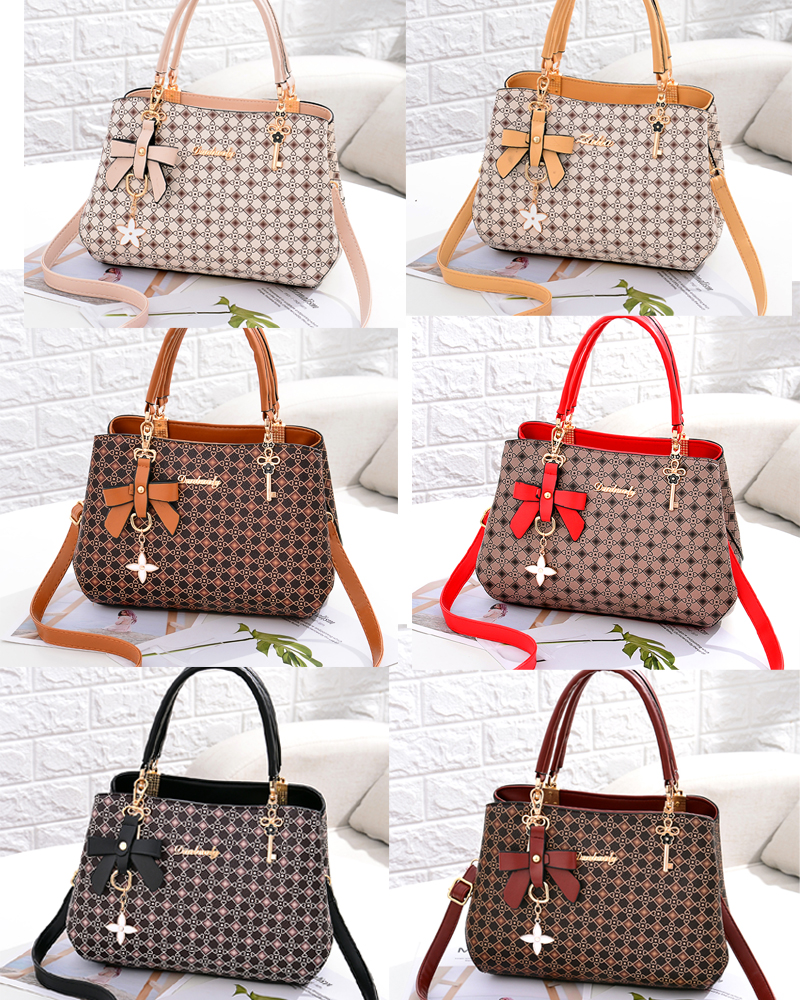 Image 2 - Beautifully bow bag crossbody women shoulder bag handbag Key  decoration Geometric pattern luxury plaid bag women leather  handbagShoulder Bags
