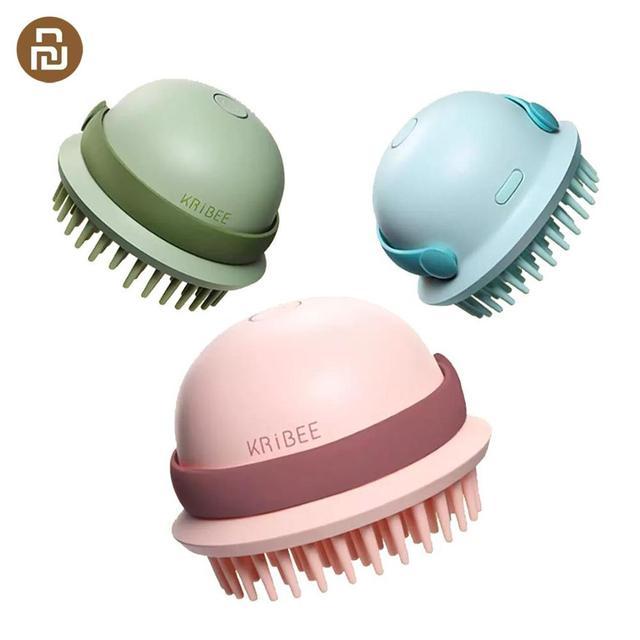 Kribee חשמלי עיסוי מסרק עמיד למים רטוב יבש כפולה שיער טיפול קרקפת אנטי סטטי מסרק נטענת שיער מברשת שיער בריאות