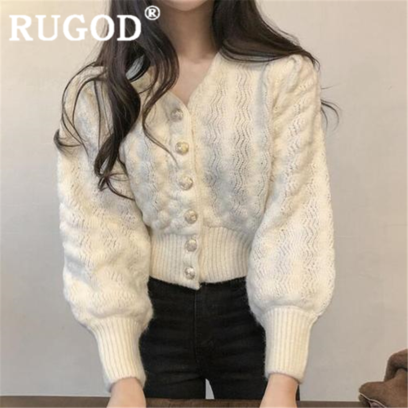 RUGOD 2019 New Autumn Snow Warm Sweater Women's Cardigan V Neck Slim High Waist Knit Coat Fashion Femme Elegant Mujer Invierno