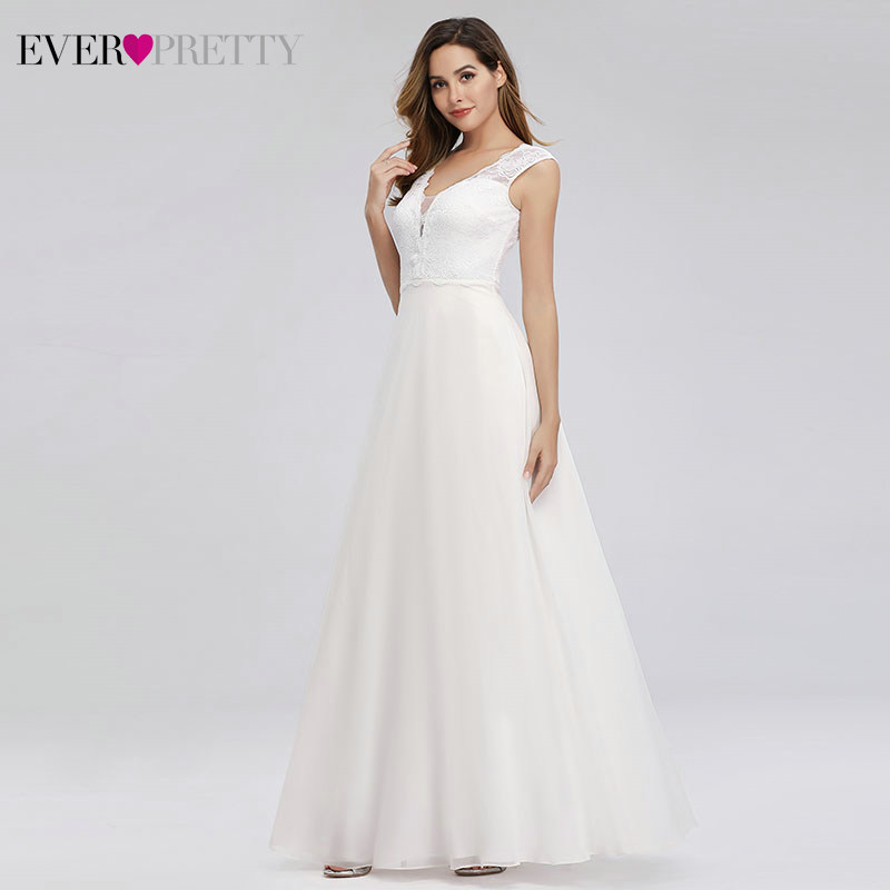 Image 3 - Elegant Lace Wedding Dresses Ever Pretty EP00811WH A Line V Neck Simple Beach Style Formal Bride Dresses Vestido De Novia 2019-in Wedding Dresses from Weddings & Events