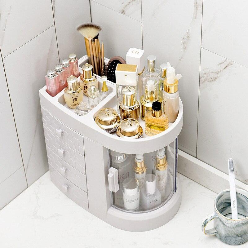 Plastic 4 Drawers Rotate Makeup Storage Box Organizer Transparent Cosmetic Storage Holder Lipstick Desktop Container