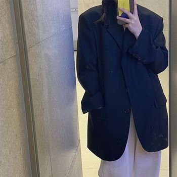 Fashion New Spring Autumn Women's Black Suit Jacket Autumnnew Korean Version Loose Student Mid-length Casual Women 1