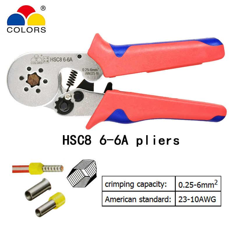 Hình Ống Nhà Ga Uốn Dụng Cụ Mini Điện Kìm HSC8 10SA 0.25-10mm2 23-7AWG 6-4A/6-6A 0.25-6mm2 Cao độ Chính Xác Kẹp Bộ