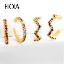 Flola Cubic Zirconia Ear Cuffs For Non Pierced Ears Girl Rainbow Cuff Earring Gold Orecchini Arcobaleno Jewellery ersq81