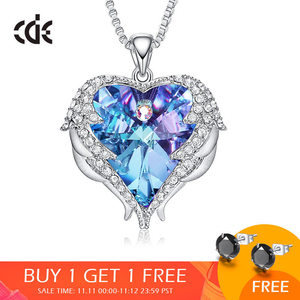Image 1 - CDE Women Silver Color Necklace Embellished with Crystals from Swarovski Necklace Angel Wings Heart Pendant Valentines Gift