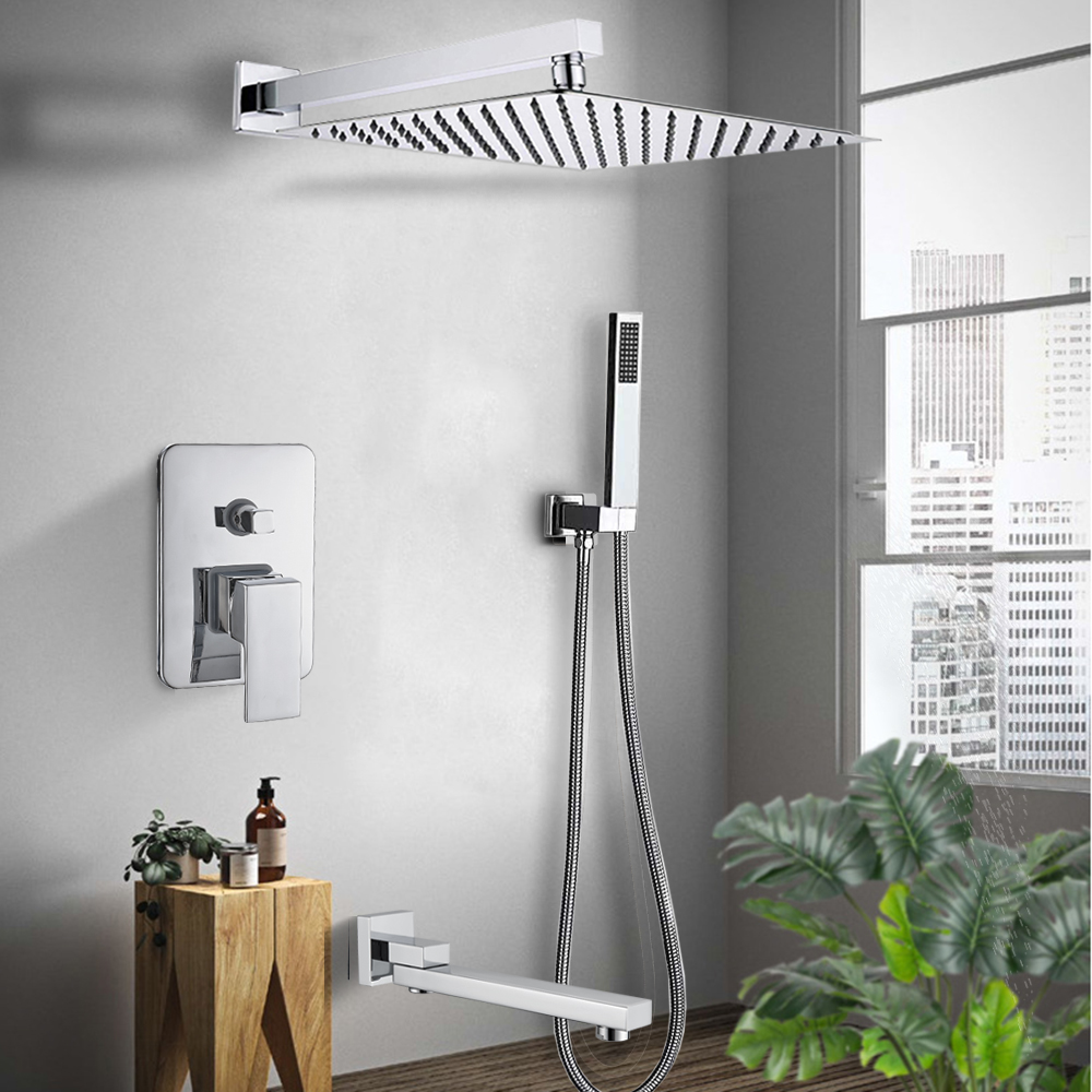 H169e87f79b1f4cb3b87c9a09b942a885Z Rozin Wall Mount Rainfall Shower Faucet Set Chrome Concealed Bathroom Faucets System 16'' Head with Swivel Tub Spout Mixer Tap