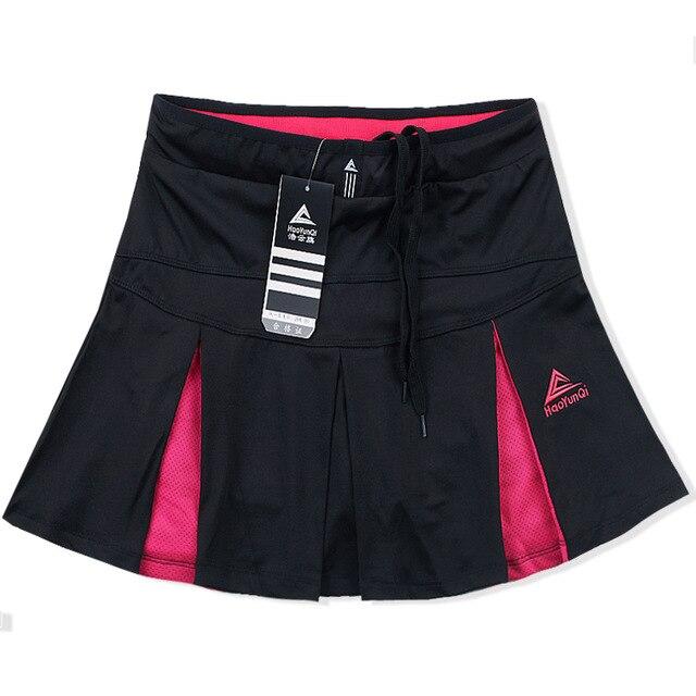 Спортивная теннисная юбка средней длины летняя быстросохнущая Дамская Сплит белая размера плюс тонкая фитнес Йога тонкая Беговая юбка - Цвет: Black