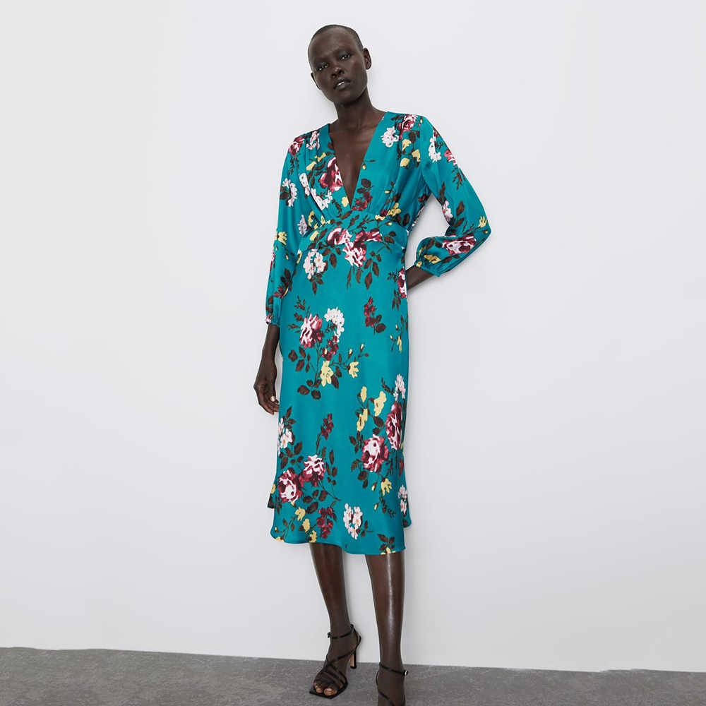 2019 ZA ผู้หญิงพิมพ์ V คอสีฟ้าสีเขียวชุดแขนยาวฤดูใบไม้ร่วง Elegant Charm แฟชั่นดอกไม้ Chic Boho PARTY DRESS