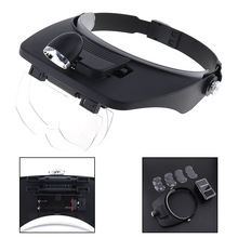 9X Headband Type Magnifier Magnifying Glass Optical Lens Tool with 4 Lens and LED Light for Jewel Repair/Reading 7751w 60 100x adjustable magnifier microscope magnifying glass optical lens tool with led and uv light for currency detectting