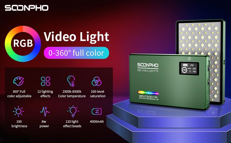 H169ecae64add495f80af0842f9a5e3b50 soonpho RGB LED Camera Light Full Color Output Video Light Kit Dimmable 2500K-8500K Bi-Color Panel Light CRI 95+