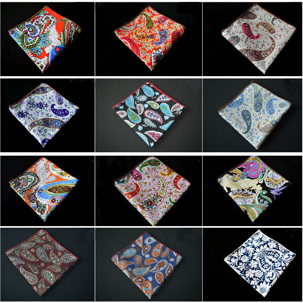 Men Floral Paisley Cotton Hanky Prom Handkerchief Stylish Flower Pocket Square