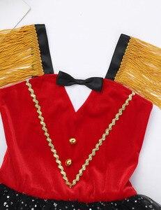 Image 4 - Ragazze dei capretti di Halloween Ringmaster Circo Costume Nappa Paillettes Maglia Vestito Dal Tutu di Balletto Ginnastica Body Usura di Prestazione di Ballo