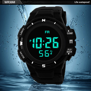 Image 5 - Mens Black Face Black Screen Multi function Student Sports Electronic Watch Led Waterproof Luminous Simple Trend Watch