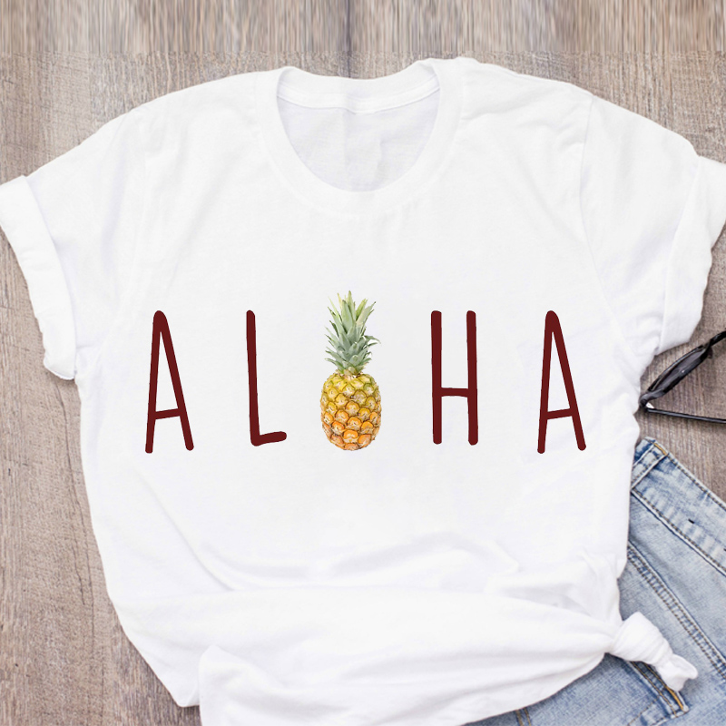 Women Graphic Pineapple Beach Vacation Mermaid Short Sleeve Summer Lady Tops T-Shirt Shirt Womens Clothing Tees Female T Shirt