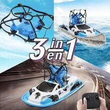 土地水デュアルモデルリモートコントロールヘリコプターのおもちゃ ドローン 3in1 Triphibian