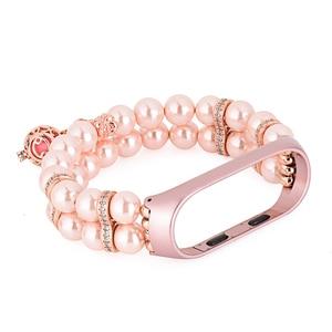 Image 3 - Correa de repuesto para reloj inteligente Xiaomi Mi Band 3 y 4, pulsera de Metal con Perfume de perlas para mujer