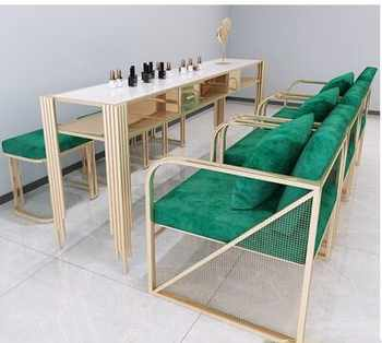Net red light luxury manicure table and chair set marble iron manicure table worktable single double three person economic type