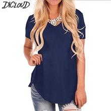 T-shirt manches courtes col en V femme, grande taille, ourlet arrondi, Long, tunique hauts